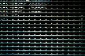 Metal Mesh. Wall Of Metal Grid. Metal Structure Of The Bars And Mesh. Dark Worn Rusty Metal Grid Tex poster