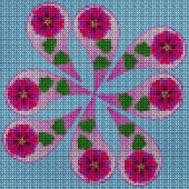 Illustration Cross-stitch Mandala From Dried Pressed Flowers. Cross-stitch Floral Collage. Mandala - poster