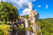 Lichtenstein Castle With High Bridge, Germany. This Scenic Castle Is A Landmark Of Germany. Beautifu poster
