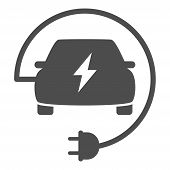 Electric Eco Car With Wire Plug Icon Isolated On White Background. Electric Eco Car Flat Icon For We poster