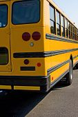 picture of bus driver  - Yellow School bus parked waiting for kids - JPG