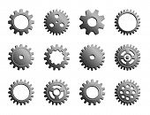 Vector Mechanical Cogwheel Collection. Set Of Silver Gear Wheels And Cogs, Grey Volumetric Icons, Di poster