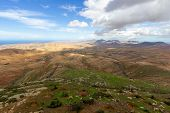 Panoramic View At Landscape From Viewpoint Mirador Morro Velosa On Fuerteventura, Spain With  Green  poster