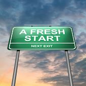 pic of fresh start  - Illustration depicting an illuminated green roadsign with a fresh start concept - JPG