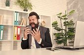 Sing Yourself To Happiness. Happy Manager Enjoy Music In Office. Bearded Man Sing Using Coffee Cup.  poster