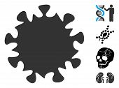 Mers Virus Icon. Illustration Contains Vector Flat Mers Virus Pictograph Isolated On A White Backgro poster