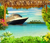 Happy Cruise Concept. Abstract Cruise Ship, Small Island And Tropical Frame poster