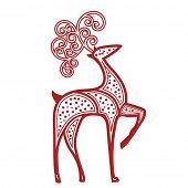 picture of poka dot  - Stylized reindeer red dots - JPG