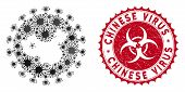 Coronavirus Mosaic Chinese Virus Icon And Rounded Corroded Stamp Watermark With Chinese Virus Text.  poster
