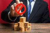 Businessman Man Official Holding Red Prohibition Sign No Over Boxes With Goods. Restriction Import,  poster