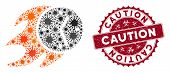 Coronavirus Mosaic Fire Deadline Clock Icon And Round Grunge Stamp Seal With Caution Phrase. Mosaic  poster