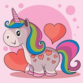 Cute Unicorn With A Multi-colored Mane And On A Background Of Red Hearts And A Pink Background, A Ni poster