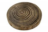Tree Lumber. Wooden Oak Tree Cut Surface On White Background. Stump Ring Texture poster