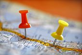 Travel destination concept thumbtack in map location poster