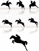 foto of horse riding  - Silhouettes of horse racing and man on the competition - JPG