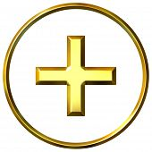 3D Golden Positive Energy Symbol