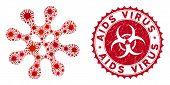 Coronavirus Mosaic Virus Icon And Round Grunge Stamp Watermark With Aids Virus Text. Mosaic Vector I poster