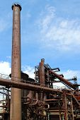 picture of blast-furnace  - old blast furnace of steel factory and sky - JPG
