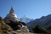 picture of sherpa  - buddhist chorten along the trail from tengboche to pheriche just before pangboche - JPG