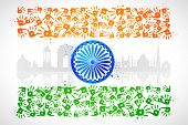 image of ashok  - illustration of hand print of Indian tricolor with monument - JPG