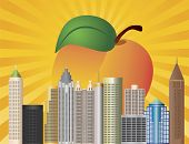 stock photo of dogwood  - Atlanta Georgia City Skyline with Sun Rays and Peach Fruit in Background Illustration - JPG