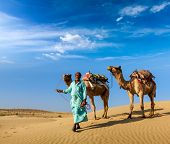 stock photo of dune  - Rajasthan travel background  - JPG