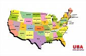 picture of united states map  - color map of United States of America on the white background - JPG