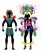 pic of beauty pageant  - Vector Illustration Colorful Couple for Carnival Costume Silhouettes with a man and a woman - JPG