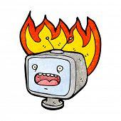 Постер, плакат: мультфильм горения старый телевизор