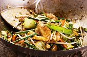 image of chinese wok  - stir fried chicken with vegetables - JPG