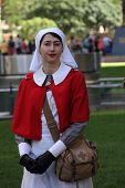 Brisbane, Australia - April 25 : Unidentified World War 2 Nurse Reenactor Poses During Anzac Day Com