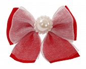 Red bow tie with lace and pearl