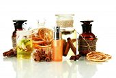 image of fragrance  - Bottles with ingredients for the perfume - JPG