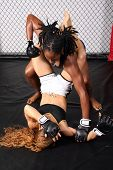 stock photo of martial arts girl  - Two fit women sparring inside a fight cage - JPG