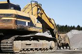 image of jcb  - giant super bulldozer seen from the rear side - JPG