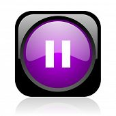 pause black and violet square web glossy icon