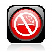 no smoking black and red square web glossy icon