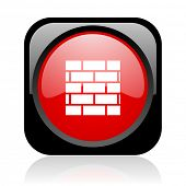 firewall black and red square web glossy icon