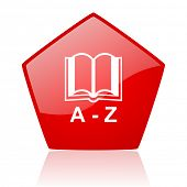 dictionary red web glossy icon