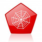spider web red web glossy icon
