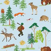 pic of wild hog  - Vector seamless hunting pattern with different wild animals living in the forest - JPG