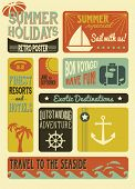 Summer Holidays Poster - Retro style summer poster, with simple iconic images, including anchor, sai