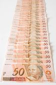 Photo of Aligned Bills, 50 Reais - Brazilian money