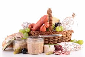 stock photo of canard  - wicker basket with sausage - JPG