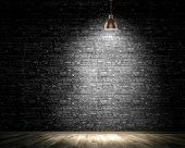 foto of lamp shade  - Background image of dark wall with lamp above - JPG