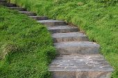 stock photo of stepping stones  - stone stairs in the countryside - JPG