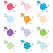 stock photo of standard poodle  - Colorful Poodle Pattern Design - JPG