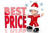 Best Price Sign Presented By Mini Santa Claus