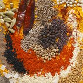 Asian curry spices, in the centre black pepper, coriander seeds, black mustard, cumin seeds, around