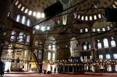 Interior of the Sultan Ahmed Mosque on November 21, 2013 in Istanbul,Turkey